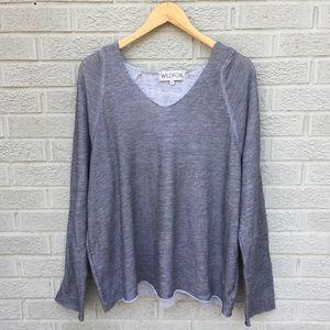 Wildfox V-Neck Pullover Hooded Sweatshirt - Gray